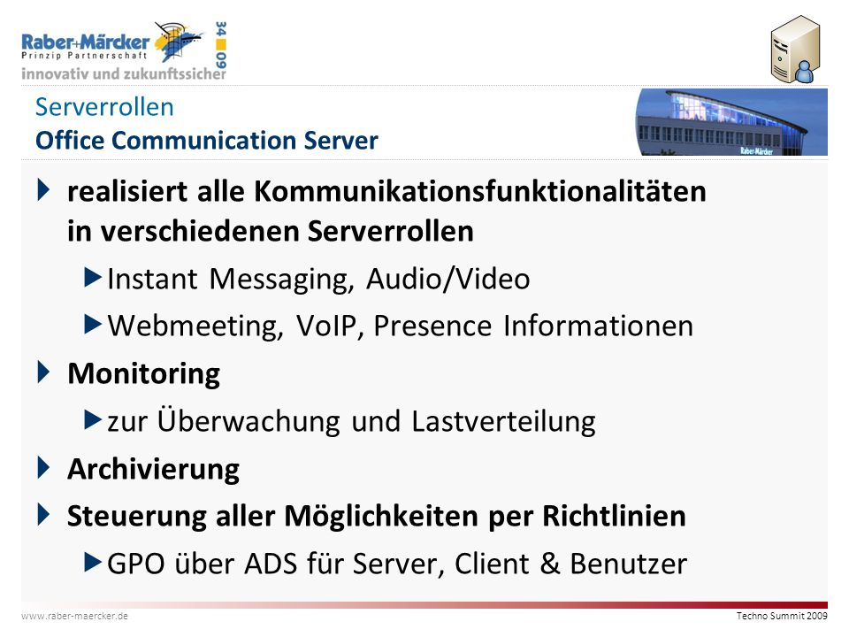 Serverrollen Office Communication Server