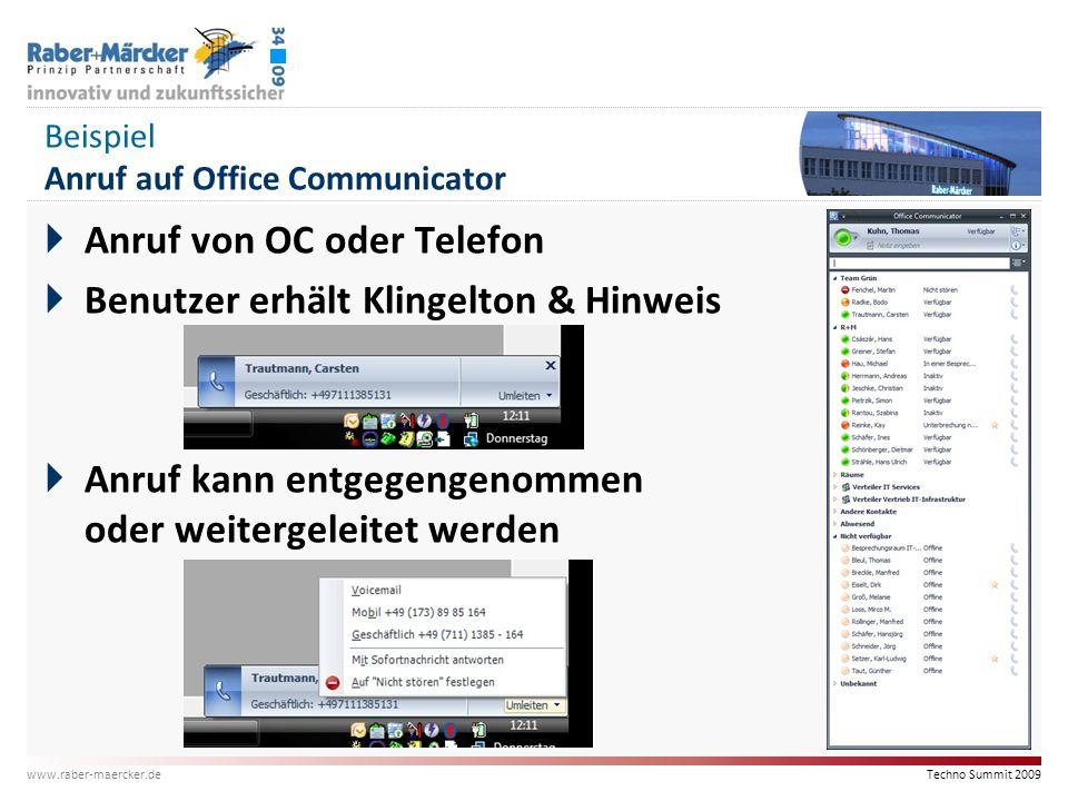Beispiel Anruf auf Office Communicator
