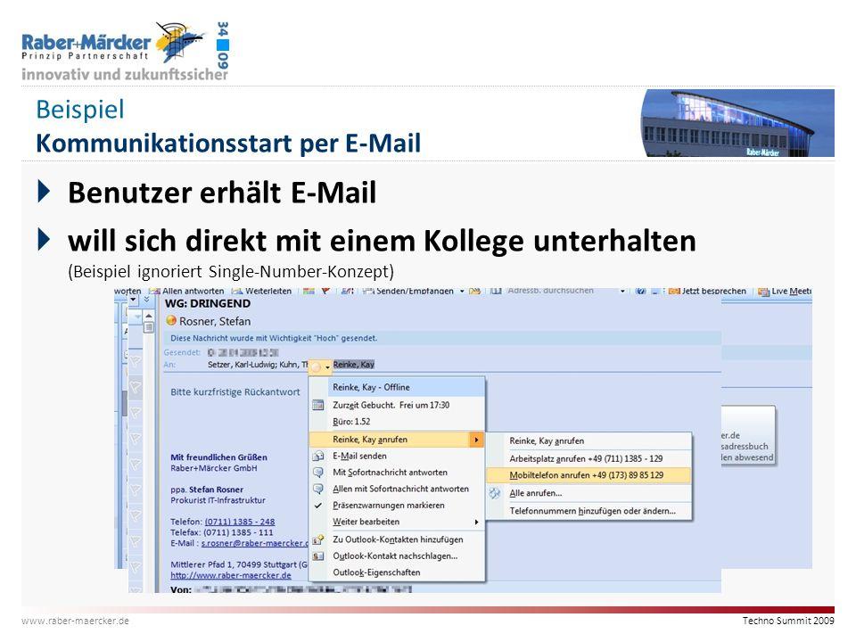 Beispiel Kommunikationsstart per E-Mail