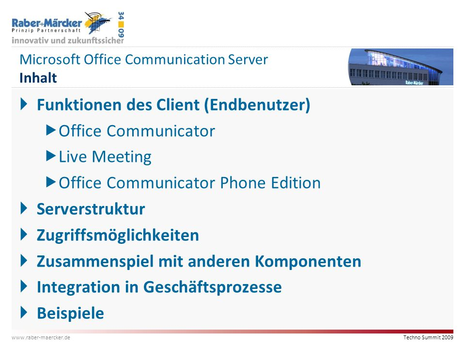 Microsoft Office Communication Server Inhalt
