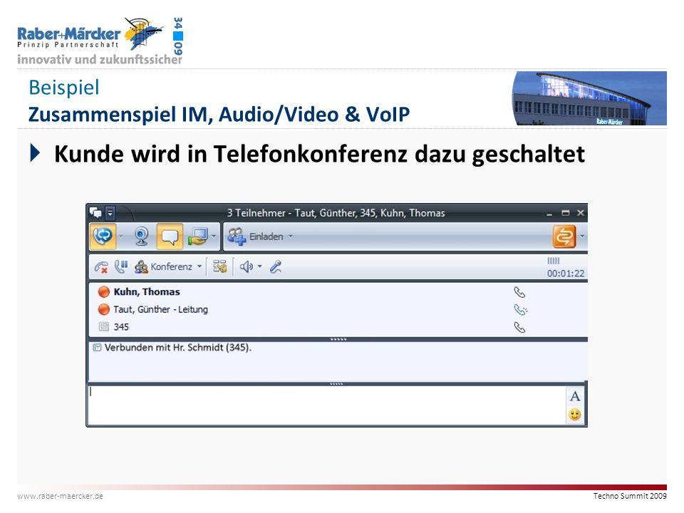 Beispiel Zusammenspiel IM, Audio/Video & VoIP