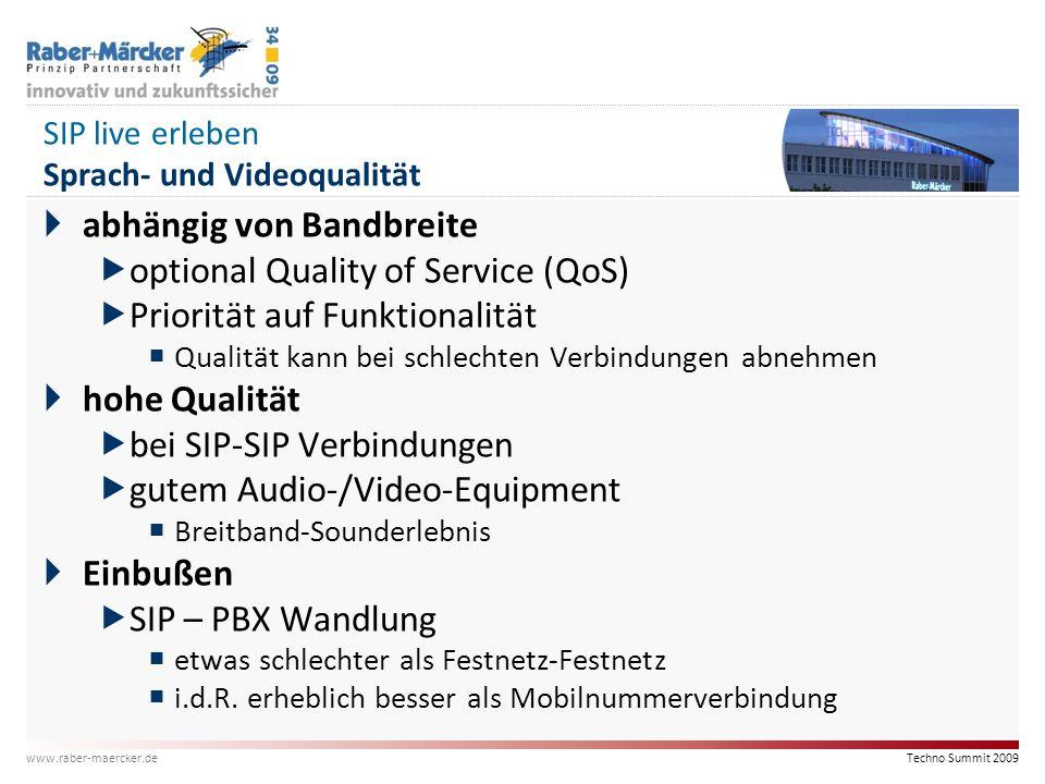 SIP live erleben Sprach- und Videoqualität