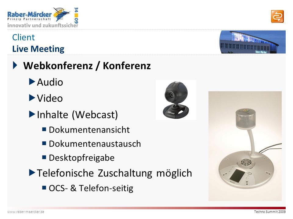 Webkonferenz / Konferenz Audio Video Inhalte (Webcast)