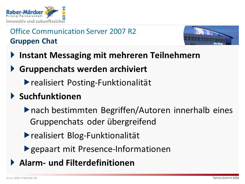 Office Communication Server 2007 R2 Gruppen Chat