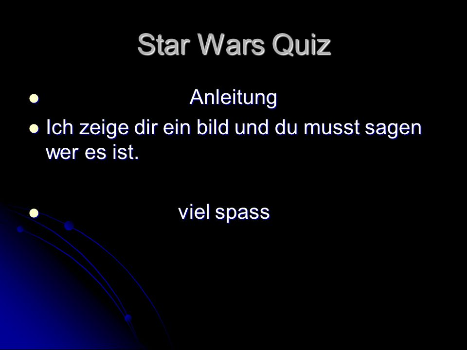 Star Wars Quiz Anleitung