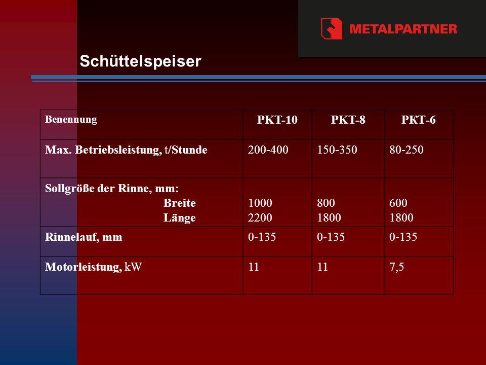 Schüttelspeiser PKT-10 PKT-8 PКТ-6 Max. Betriebsleistung, t/Stunde