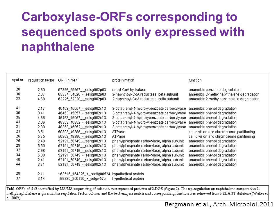 Carboxylase-ORFs corresponding to sequenced spots only expressed with naphthalene
