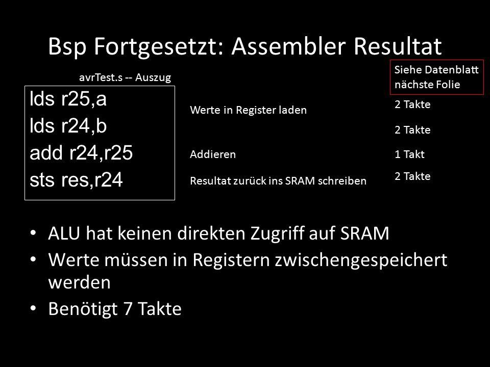 Bsp Fortgesetzt: Assembler Resultat