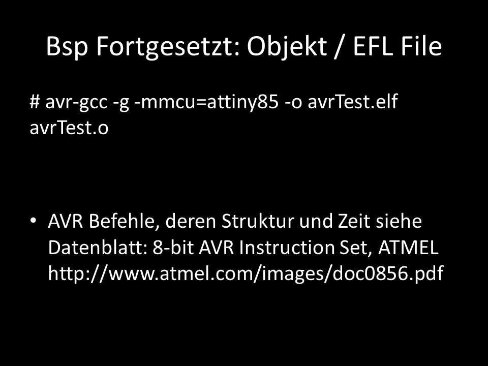 Bsp Fortgesetzt: Objekt / EFL File