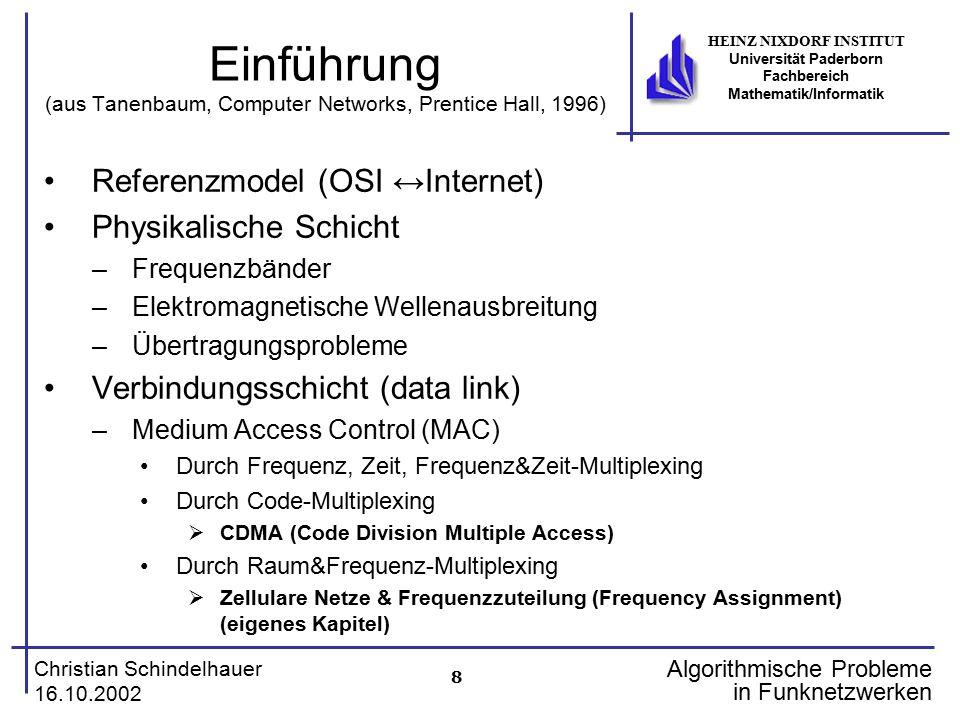 Einführung (aus Tanenbaum, Computer Networks, Prentice Hall, 1996)