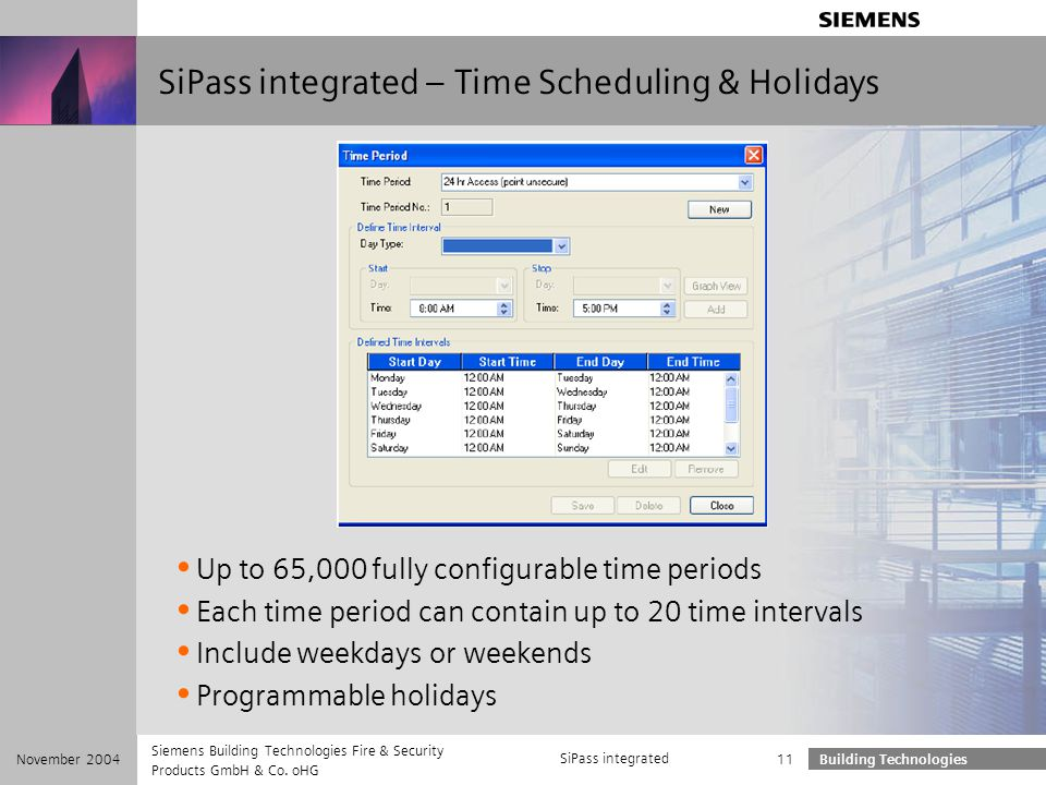 SiPass integrated – Time Scheduling & Holidays