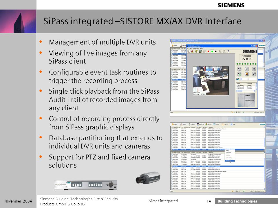 SiPass integrated –SISTORE MX/AX DVR Interface
