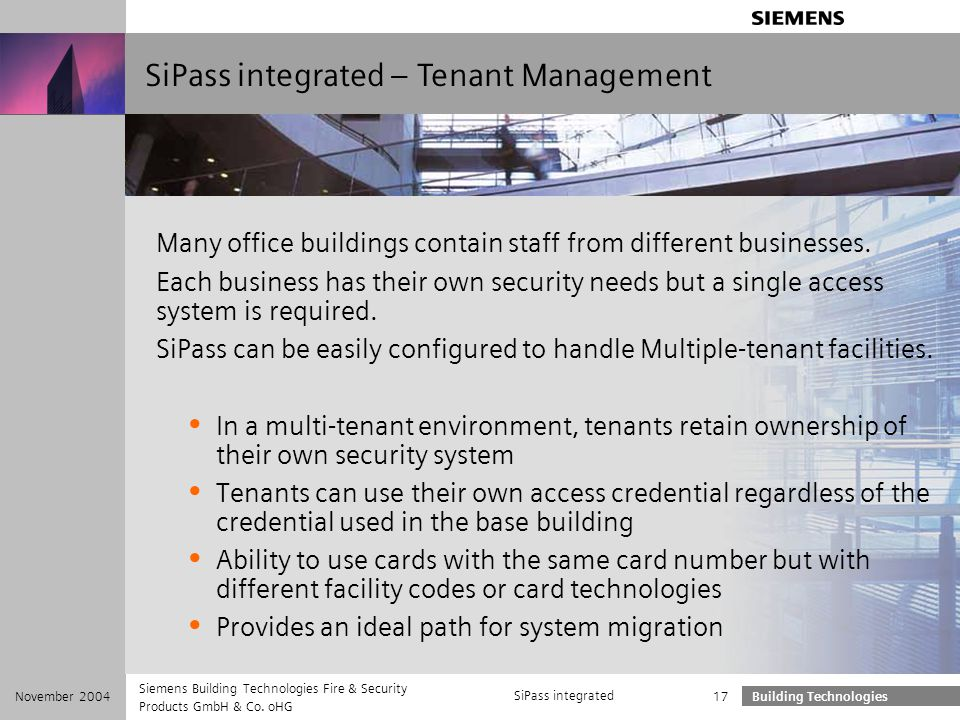 SiPass integrated – Tenant Management