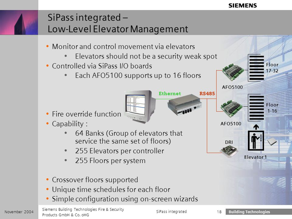 SiPass integrated – Low-Level Elevator Management