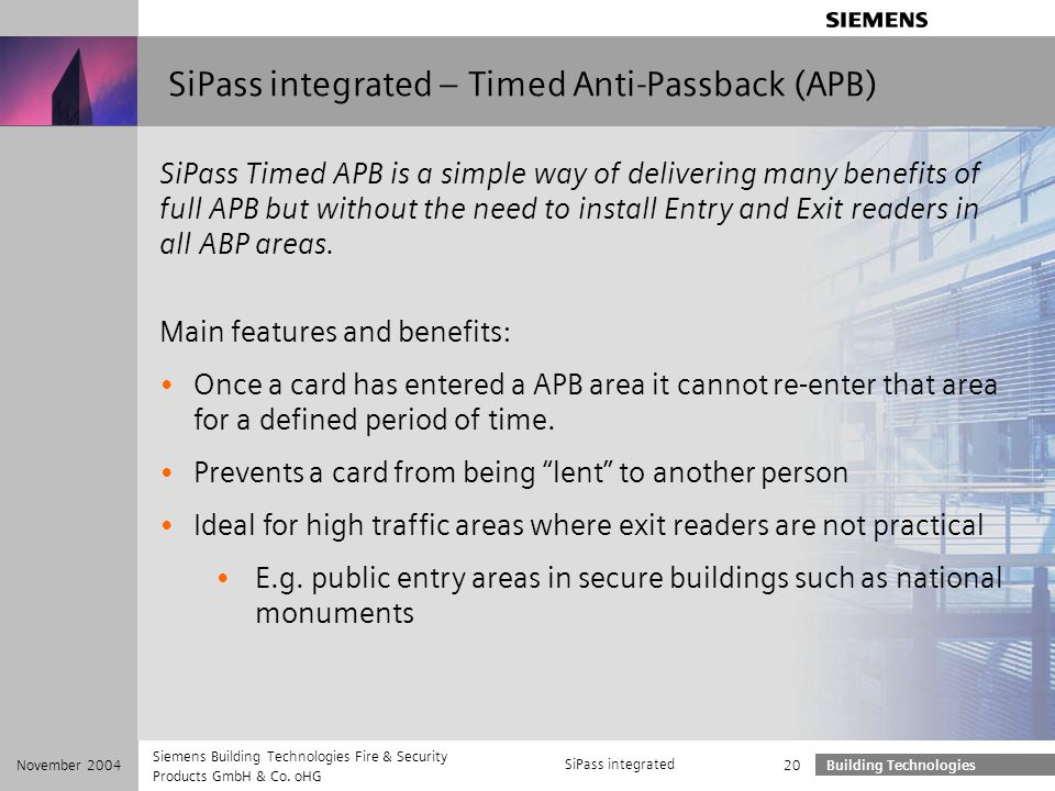 SiPass integrated – Timed Anti-Passback (APB)