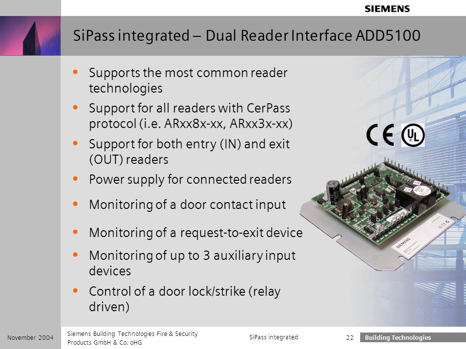SiPass integrated – Dual Reader Interface ADD5100