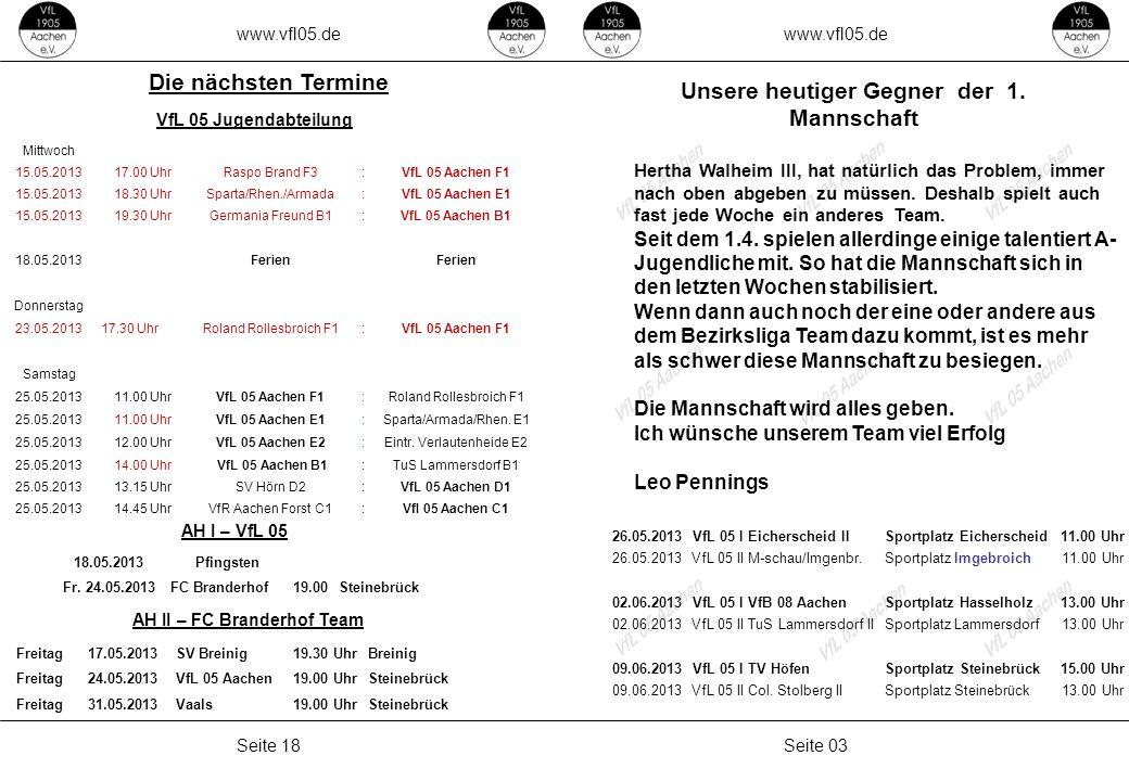 Unsere heutiger Gegner der 1. Mannschaft AH II – FC Branderhof Team