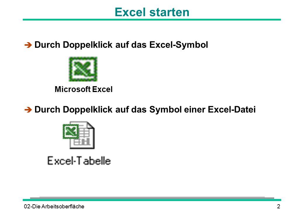Excel starten Durch Doppelklick auf das Excel-Symbol