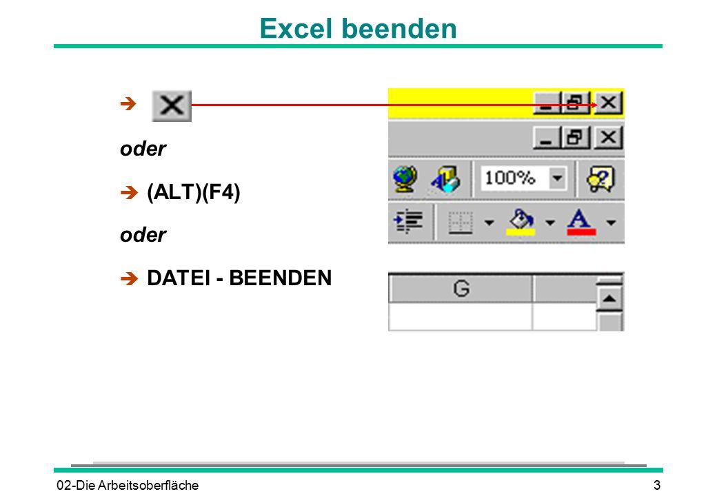Excel beenden oder (ALT)(F4) DATEI - BEENDEN 02-Die Arbeitsoberfläche