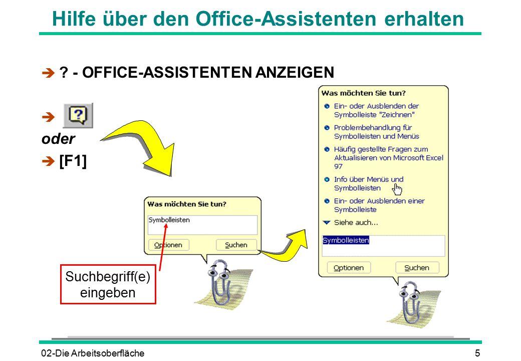 Hilfe über den Office-Assistenten erhalten