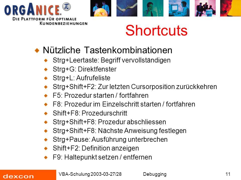 Shortcuts Nützliche Tastenkombinationen