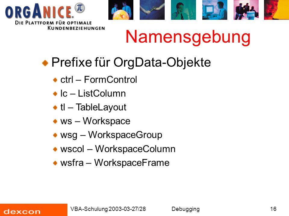 Namensgebung Prefixe für OrgData-Objekte ctrl – FormControl