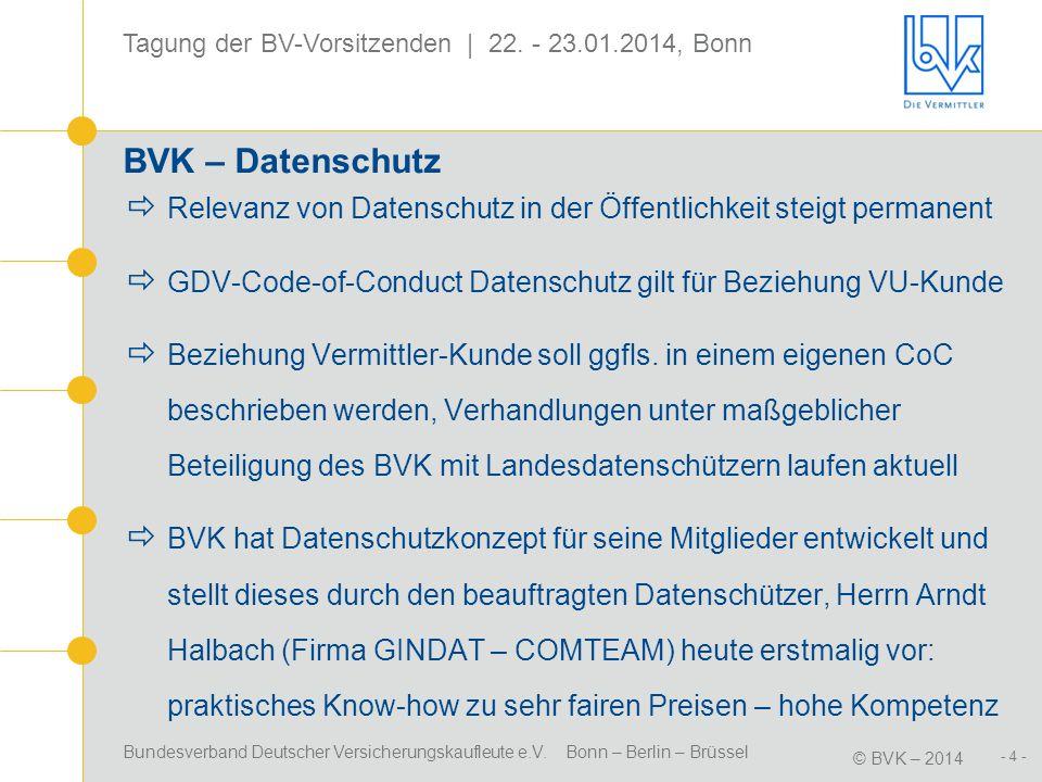 BVK – Datenschutz Relevanz von Datenschutz in der Öffentlichkeit steigt permanent. GDV-Code-of-Conduct Datenschutz gilt für Beziehung VU-Kunde.