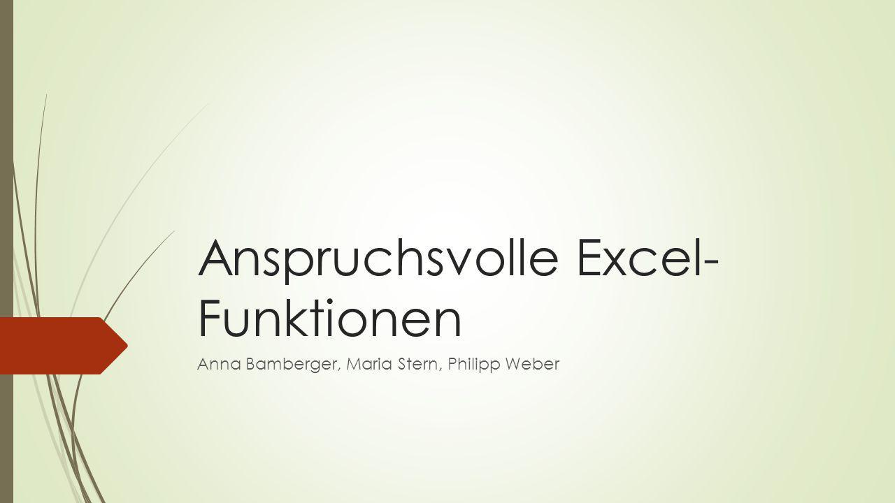 Anspruchsvolle Excel-Funktionen