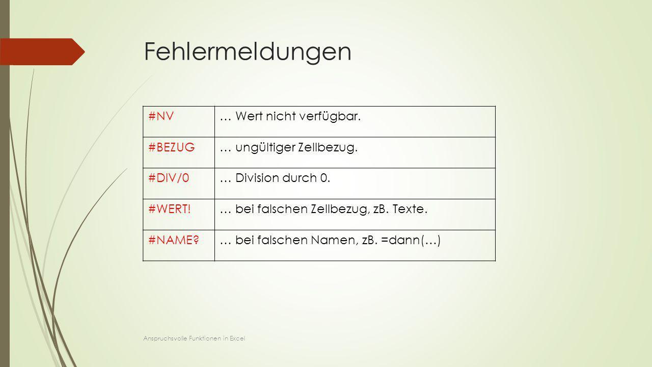 Fehlermeldungen #NV … Wert nicht verfügbar. #BEZUG