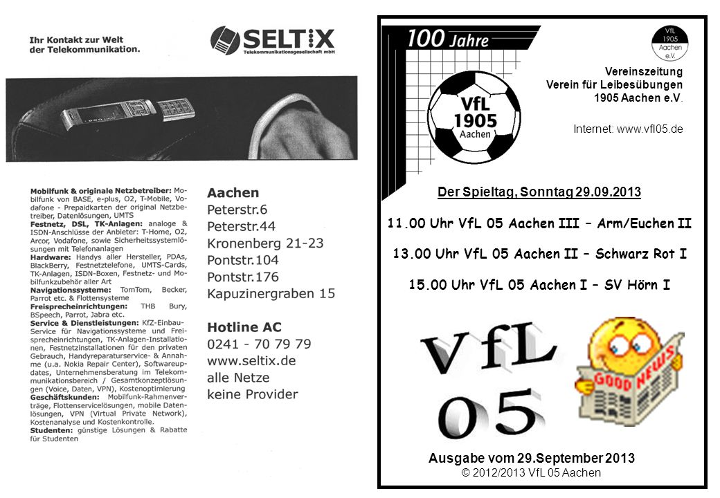 11.00 Uhr VfL 05 Aachen III – Arm/Euchen II