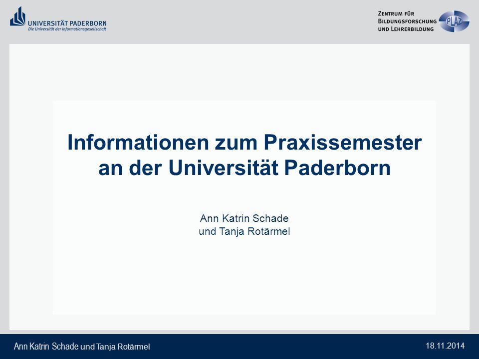 Informationen zum Praxissemester an der Universität Paderborn