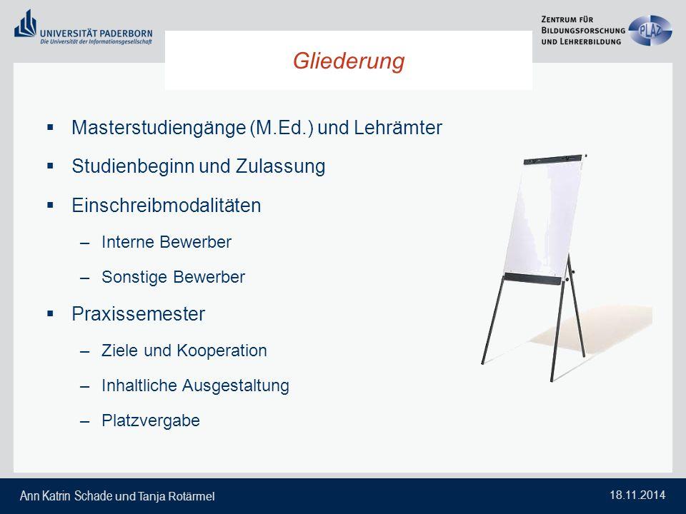 Gliederung Masterstudiengänge (M.Ed.) und Lehrämter