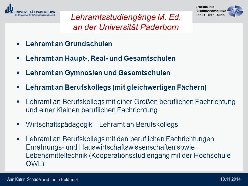 Lehramtsstudiengänge M. Ed. an der Universität Paderborn