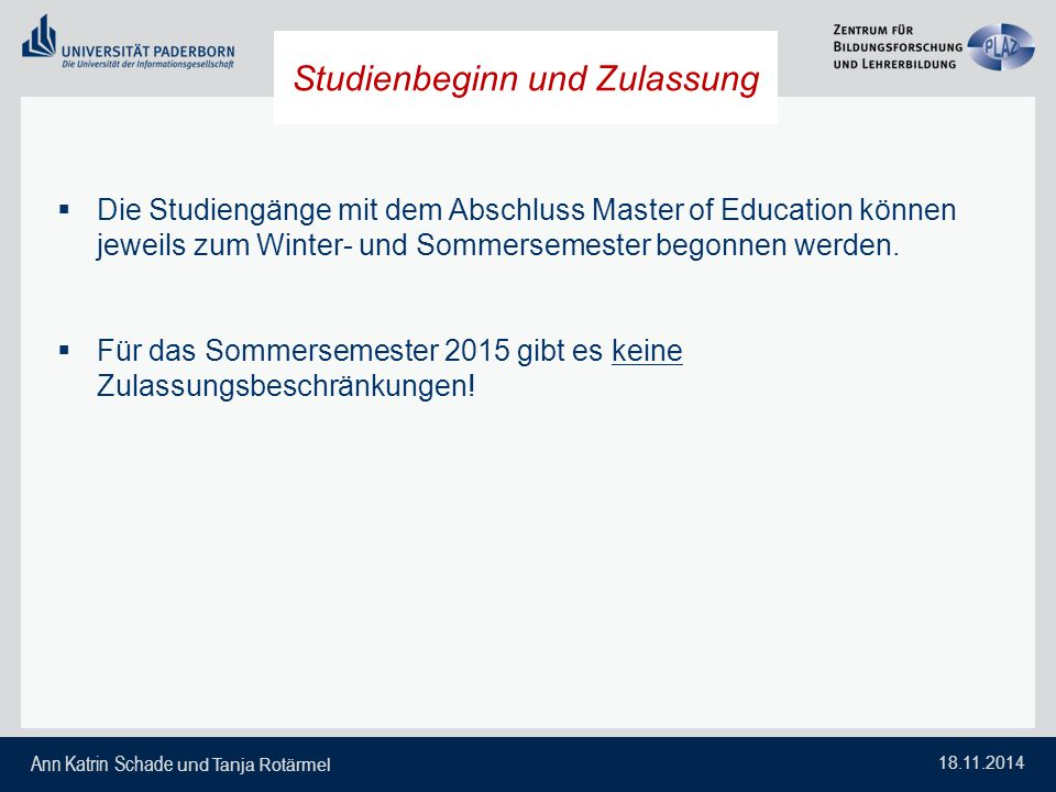 Studienbeginn und Zulassung
