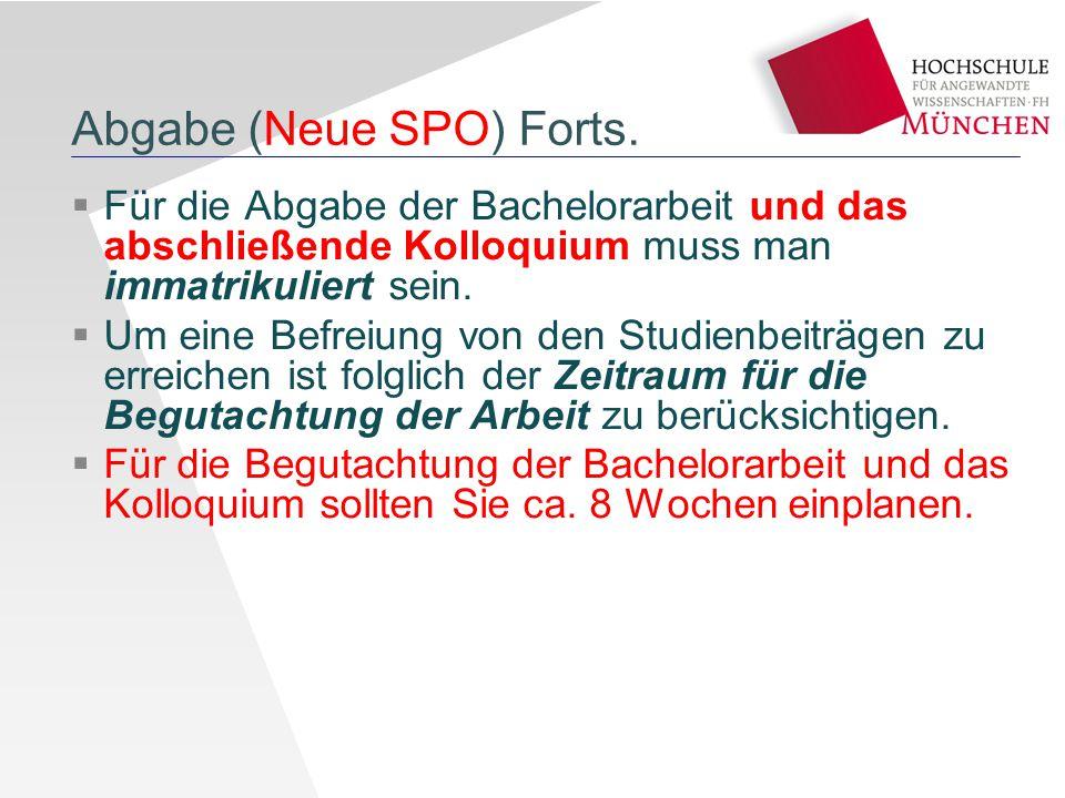 Abgabe (Neue SPO) Forts.