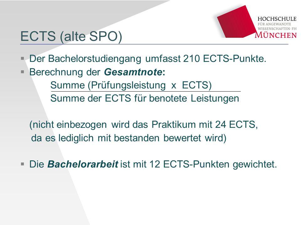 ECTS (alte SPO) Der Bachelorstudiengang umfasst 210 ECTS-Punkte.