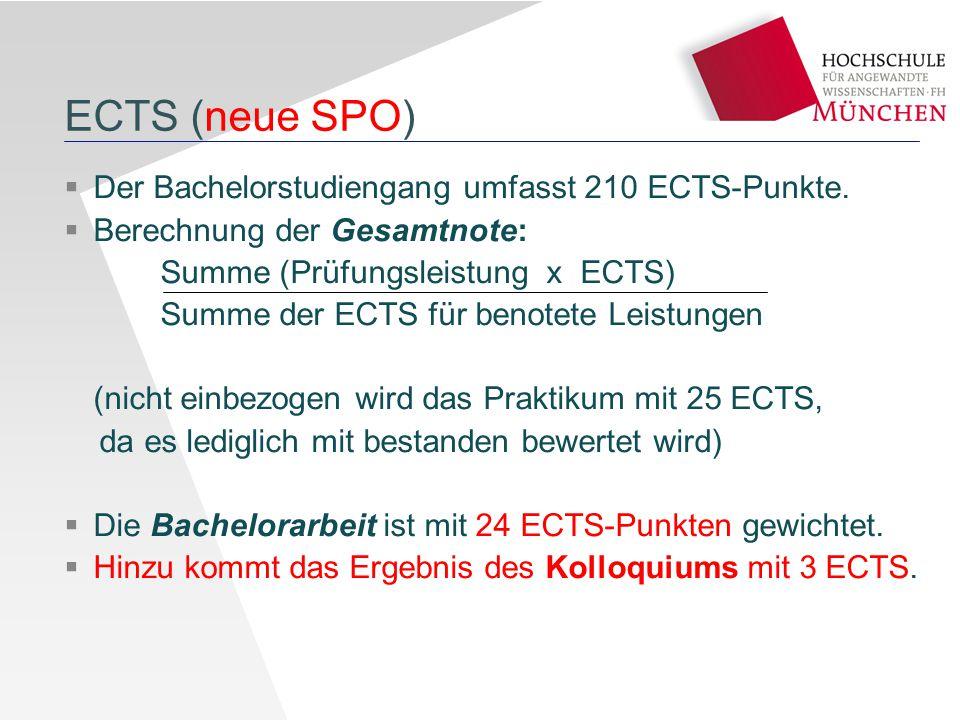 ECTS (neue SPO) Der Bachelorstudiengang umfasst 210 ECTS-Punkte.