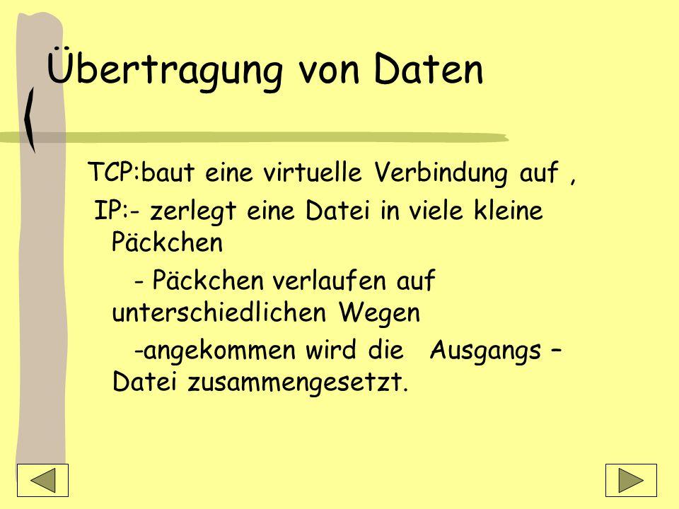 Übertragung von Daten TCP:baut eine virtuelle Verbindung auf ,