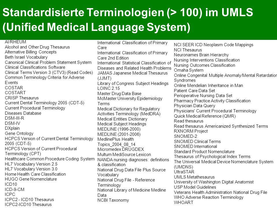Standardisierte Terminologien (> 100) im UMLS (Unified Medical Language System)