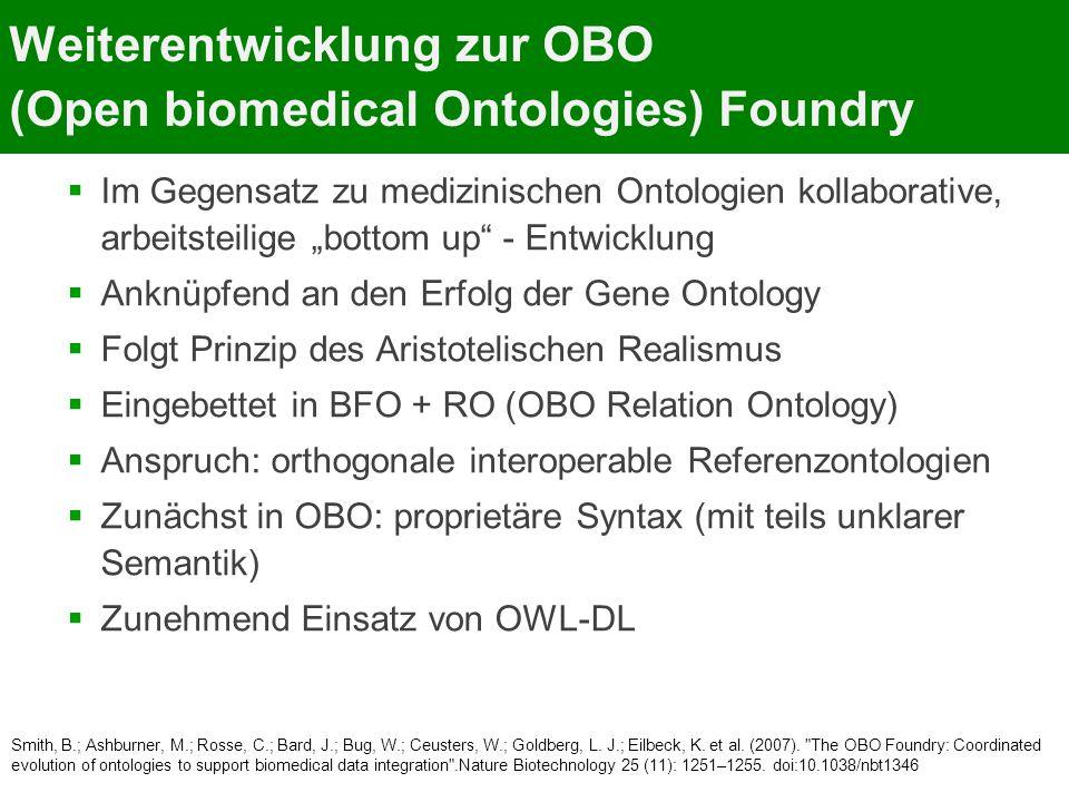 Weiterentwicklung zur OBO (Open biomedical Ontologies) Foundry