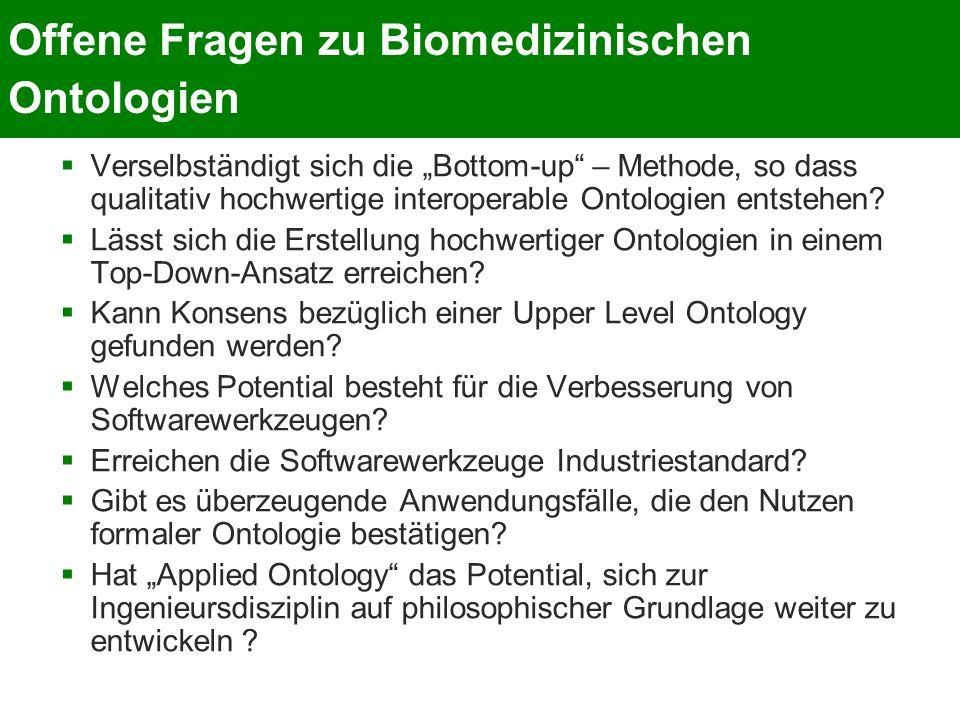 Offene Fragen zu Biomedizinischen Ontologien