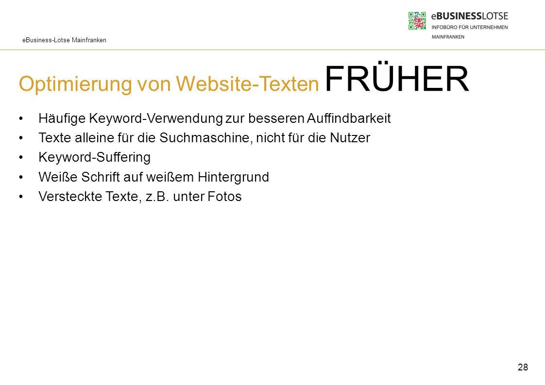 Optimierung von Website-Texten FRÜHER