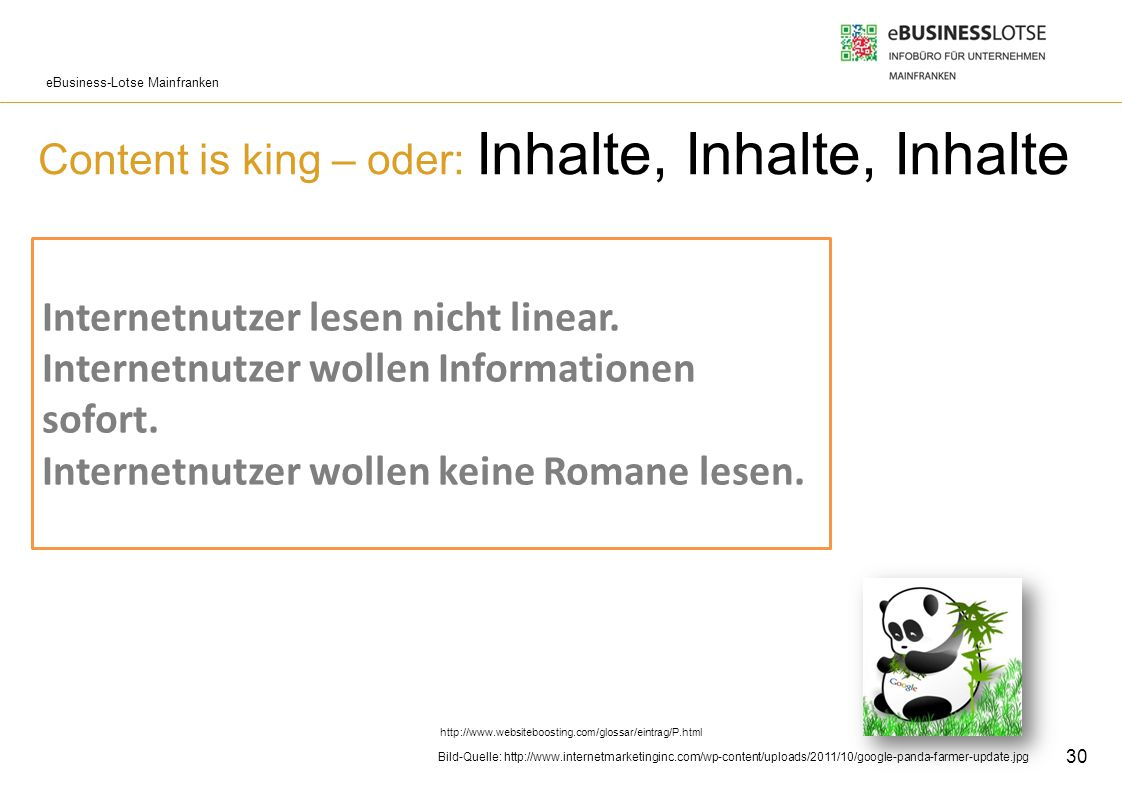 Content is king – oder: Inhalte, Inhalte, Inhalte