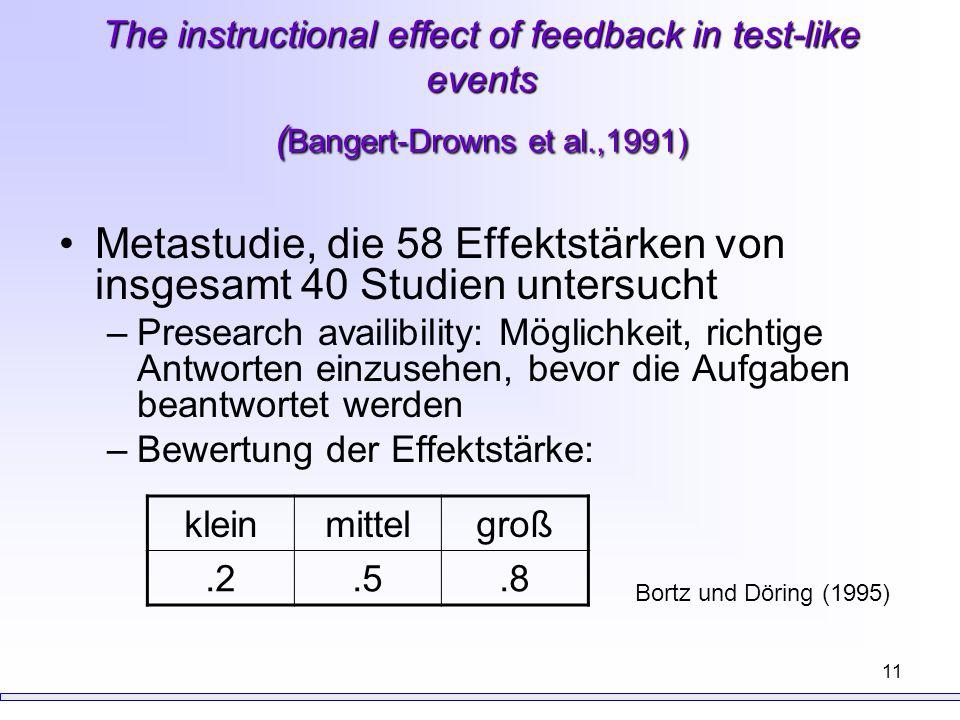 Metastudie, die 58 Effektstärken von insgesamt 40 Studien untersucht