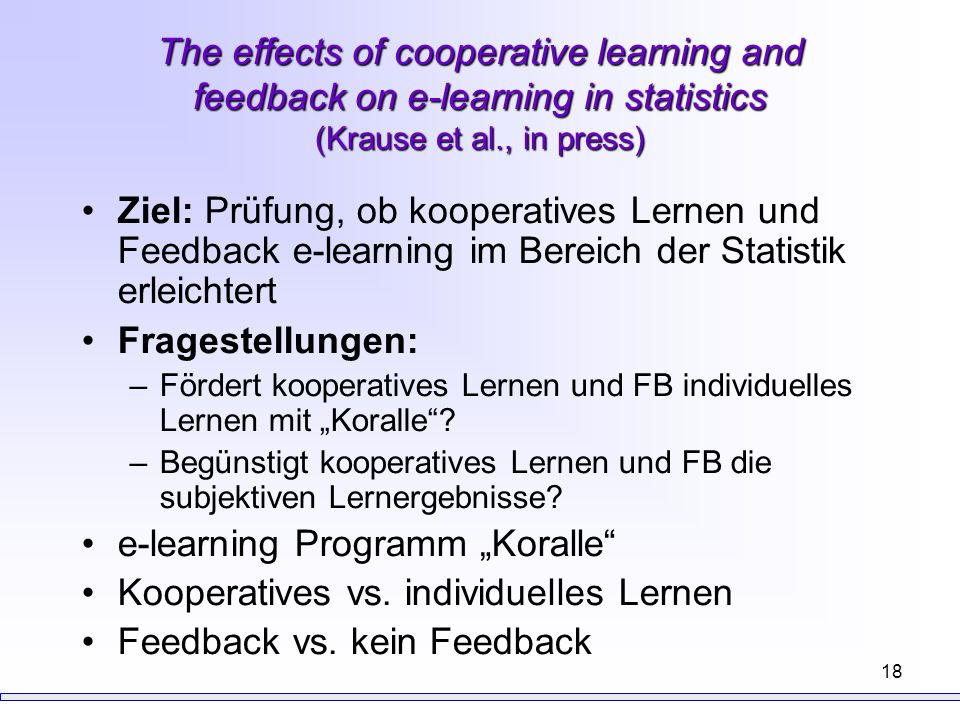"e-learning Programm ""Koralle Kooperatives vs. individuelles Lernen"