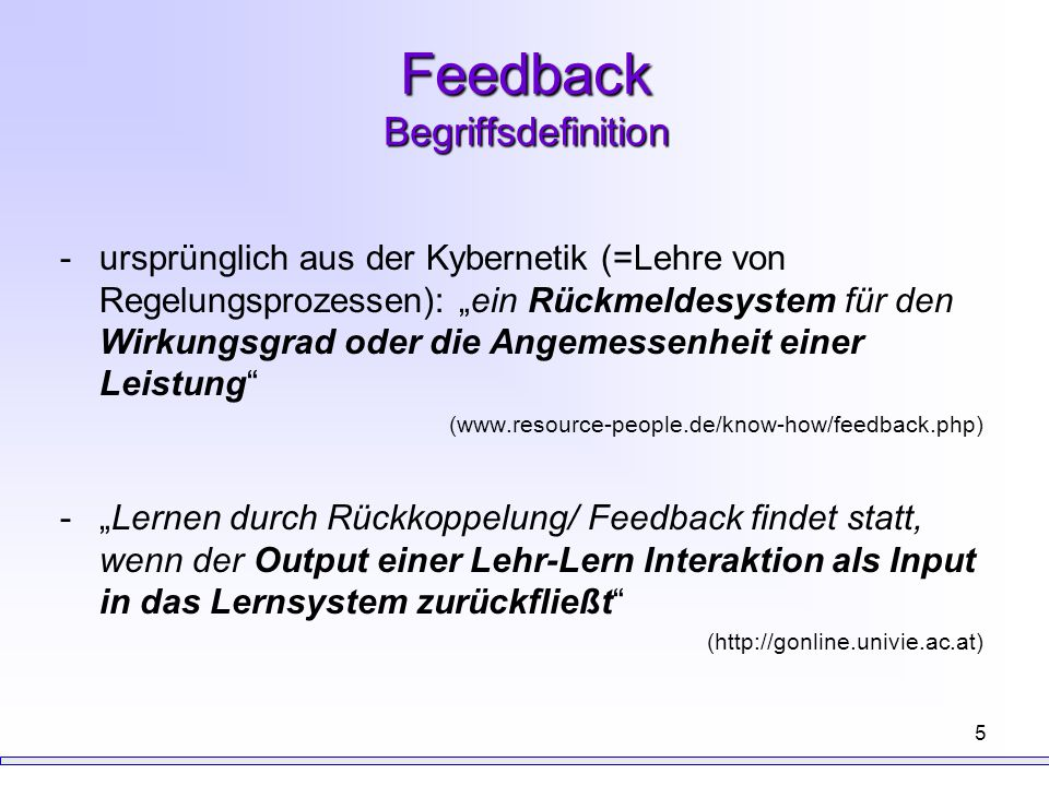 Feedback Begriffsdefinition