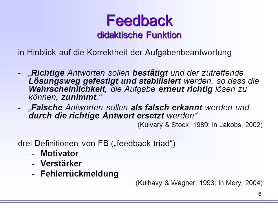 Feedback didaktische Funktion