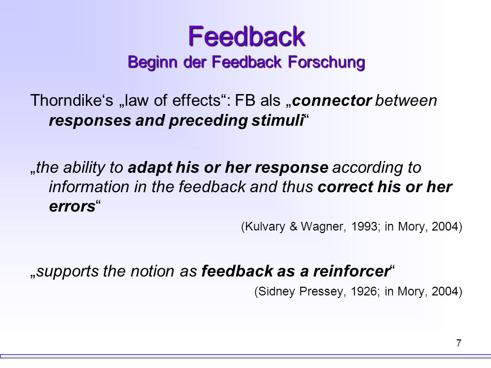 Feedback Beginn der Feedback Forschung