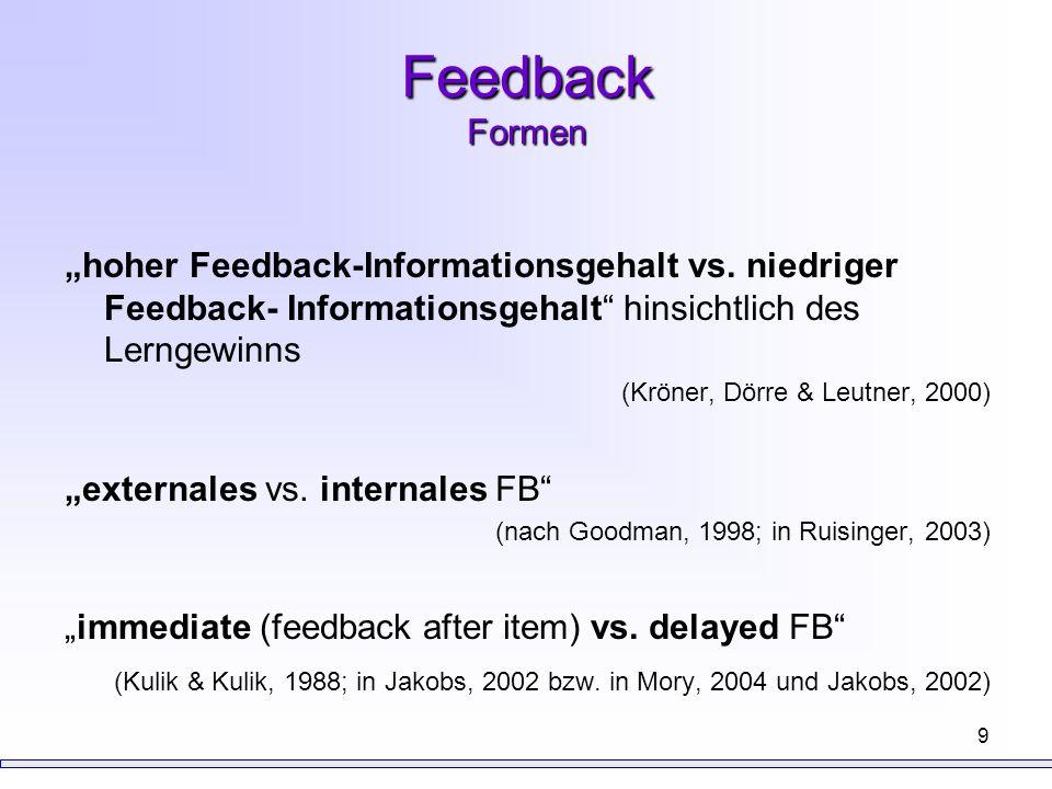 """Feedback Formen """"hoher Feedback-Informationsgehalt vs. niedriger Feedback- Informationsgehalt hinsichtlich des Lerngewinns."""