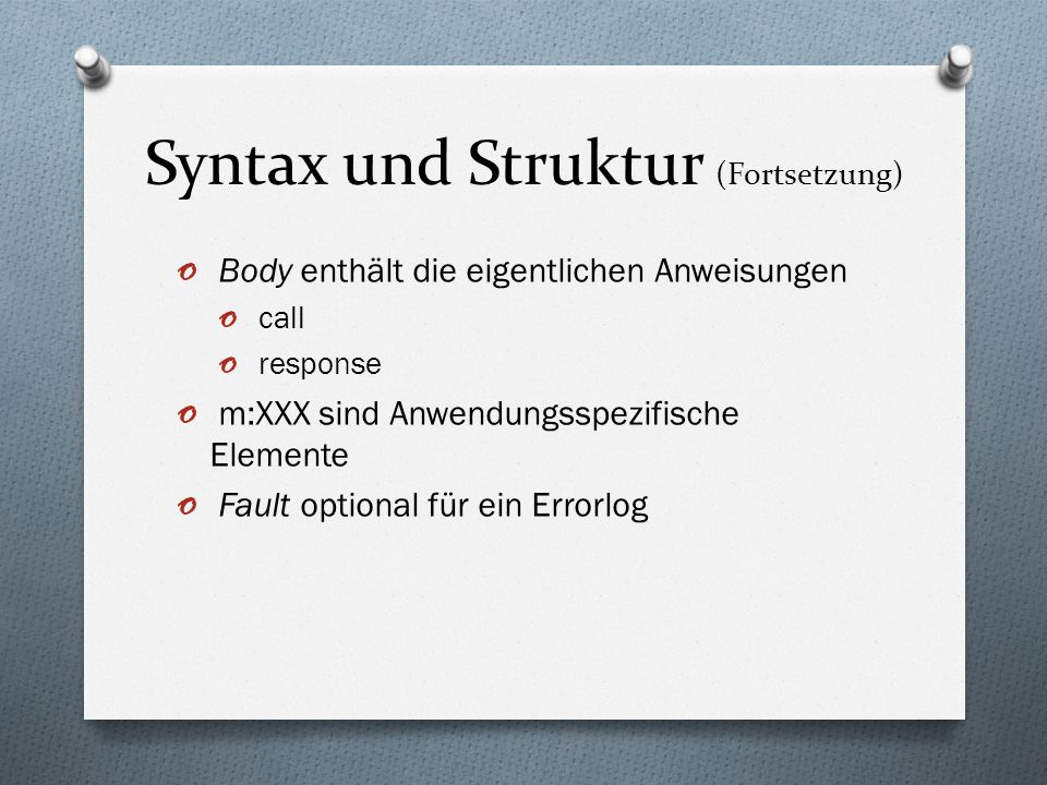 Syntax und Struktur (Fortsetzung)